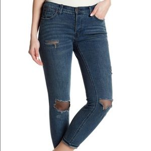 Free People Fishnet Distressed Jeans